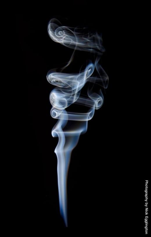 A spiralling smoke stack.