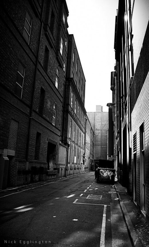 Deserted city alley way