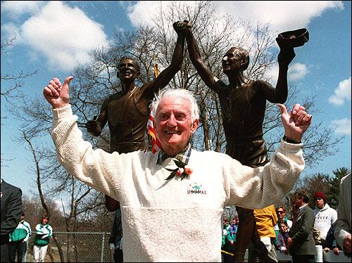 John Kelly and his statue photo by Bill Brett, Boston Globe
