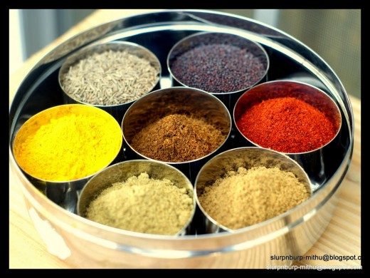 tikka masala spices including gorham masala, curry, and paprika