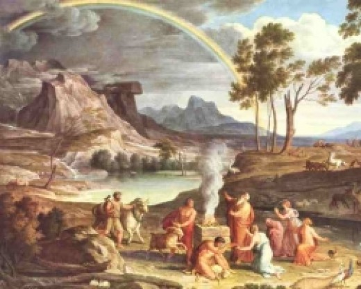 Noah's sacrifice by ark with rainbow