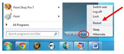 Look that's how you restart windows 7 amazing.