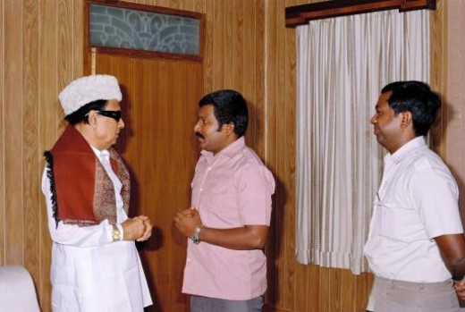 V. Prabhakaran with Tamil Nadu Chief Minister, M. G. Ramachandran.