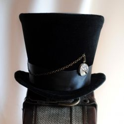 Black Velvet Clockwork Steampunk Top Hat