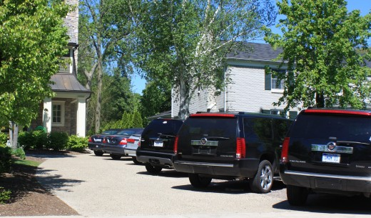 7-car family driveway in upscale Detroit suburb.