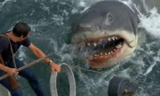 Brody trying to fend off the shark's advances. The thought of being in Brody's place is surely one of my greatest fears.
