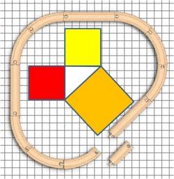Triangular wooden train set layout