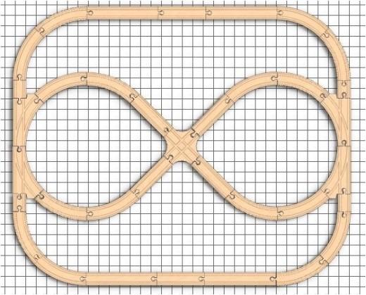 Combination loop wooden train set