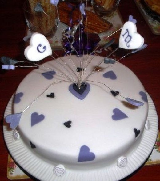 Love Hearts Engagement Cake - with real sweetie love hearts!
