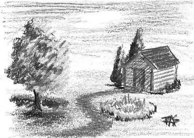 The same drawing of a yard with shed, tree, path and formal plantings in grayscale. Robert A. Sloan