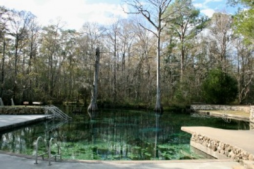 The pool is almost tapwater clear and you can see moss on the sandy bottom.The converging flow of two springs at the vortex of the pond produces 68 degree water all year long.