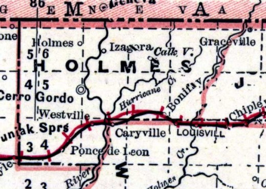 Map of the area in 1890. The railroad has arrived -the red hatched line notes this.              credit: University of Florida
