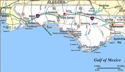 The red dot between Bonifay and DeFuniak Springs is Ponce de Leon State Park. Note proximity to Interstate I-10. The parallel highway 90 follows the Old Spanish Trail through south Florida. The Springs is almost 1/2 mile south of H-90.