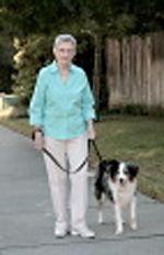 Older woman walks dog