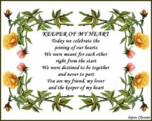 Keeper of My Heart Wedding Love Poem Poster