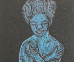 Blue Lady, Abstract Pastel Art by Injete Chesoni