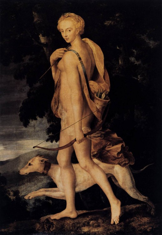 Diana Huntress 1550-60. An example of the Fontainebleau First School of Painting . Now at the Louvre.
