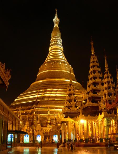Shwedagon Pagoda, Yangon, at night