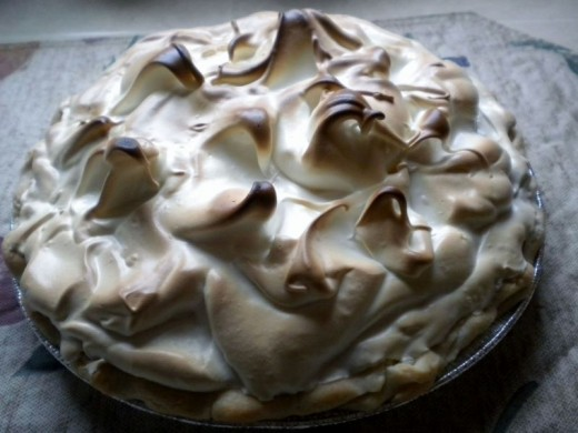 Topped with Meringue and baked at 350 degrees long enough to brown the peaks.
