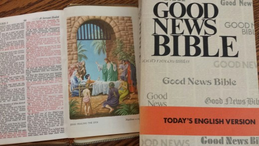 Both the King James Version and the Good News version of the Bible were used in translating Bible verses into Tweets.