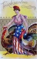 c. 1908 Lady Liberty Thanksgiving Postcard