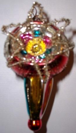 Tinsel Trimmed and Embellished Later Kugel Ornament