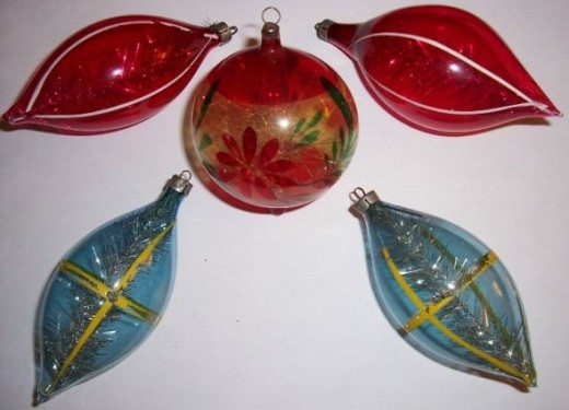 Unsilvered German Ornaments with Tinsel from WWII Era