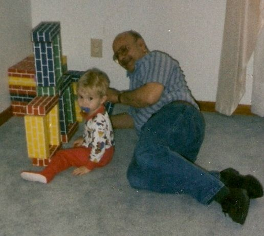 "Dad and ""The Boy"" Playing with the Big Blocks"