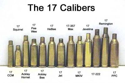 A look at most of the .17 caliber centerfires.  The only commercially available is the .17 rem we are discussing here