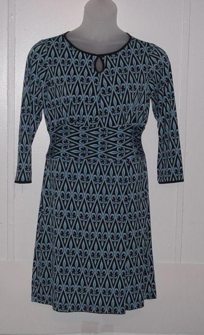 Bob Mackie Fleur De Lis Printed Boat Neck Dress