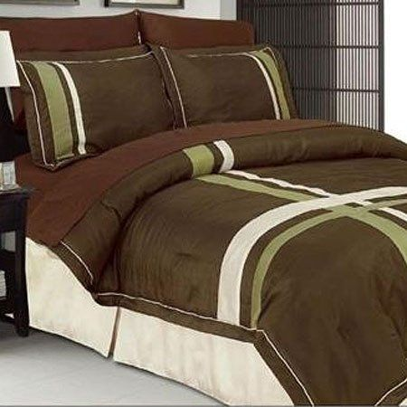 PEM America Bedding, Ridgewood Green and Chocolate Brown 7 piece Queen Bed in a Bag Comforter Set