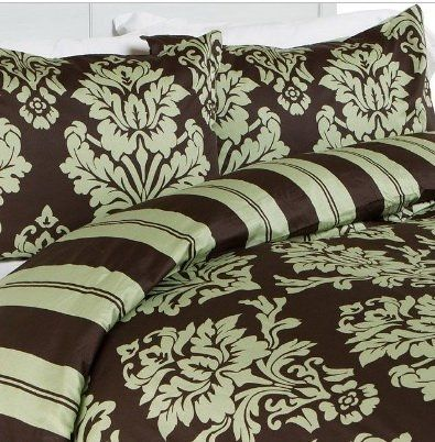 Modern Toile Damask Sage Green Brown Duvet Cover Bedding Set King