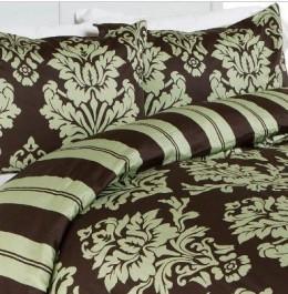 Modern Toile Damask Sage Green Brown Duvet Cover Bedding Set King
