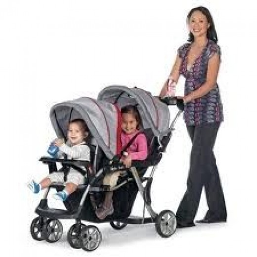 Sit and Stand Double Stroller with Car Seat