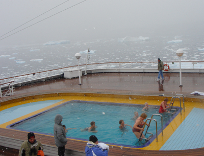 Anyone want to go swimming in the Antarctic? Yup, that's my mom in the middle of the pool.