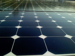 Detail of large scale solar panels. Photo by Jeremy Levine Designs on Flickr.