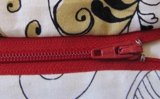 Installed zipper