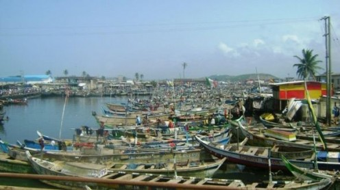 Fishing Boats in cove off Ghana's Gold Coast next the Elmina Castle.