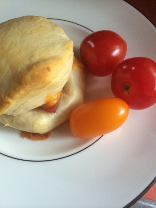 Ham and Cheese Biscuit paired with Fresh from the Garden Tomatoes for an Easy Weekday Meal