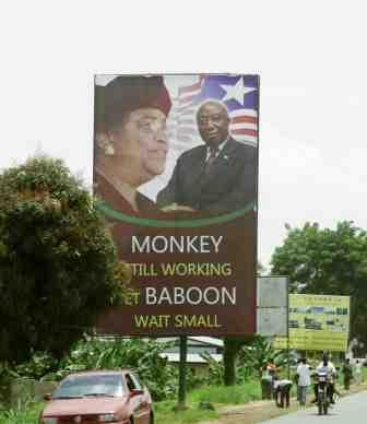 The President's Campaign Slogan: Monkey Still Working Let Baboon Wait Small