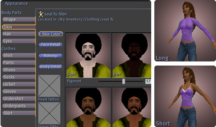 Skin color can be changed along with make-up and tattoos