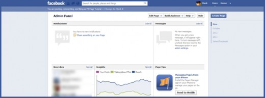 Facebook Page admin section