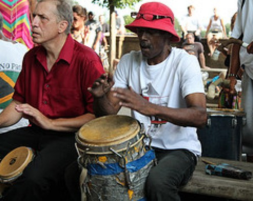 Two men playing the Drums