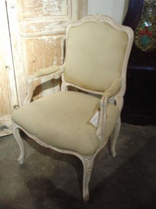 Louis XV Upholstered Chair  1715 1774  RococoA Photo Guide to Antique Chair Identification   Dengarden. Antique Queen Anne Upholstered Chairs. Home Design Ideas