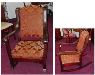 Empire Styled Rocking Chair 1800s Solid Mahogany