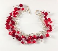 Red Beaded Bracelet with Silver and Swarovski Crystals
