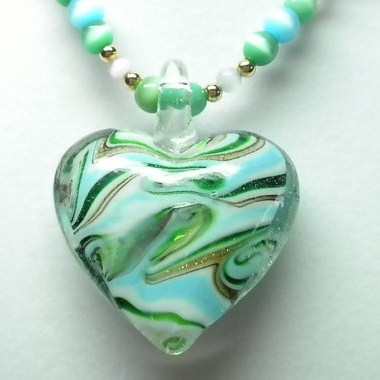 Murano Lampwork Heart Pendantwww.JanetsDesignStudio.etsy.com