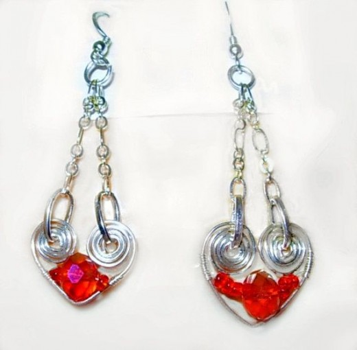 Silver Hearts and Red Crystal Dangling Earringswww.DonnasArtisanDesigns.etsy.com
