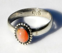 Natural Fire Opal in Sterling Silver Ringwww.LoveStoneArts.etsy.com