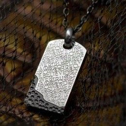 Stainless Steel and Black Dog Tag Pendant - Etched w Believe and Trust